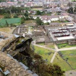 A view of the town from the citadel. Far below, you can see huge stones that the Incas hurled down on the Spaniards. The Incas won that battle.