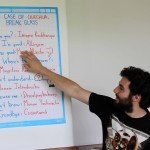 Andrew teaches students a few important phrases in the Quechua language.