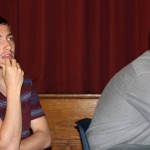 Stefan and Michael listen to Rev. Zamudio's lecture.