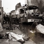 The remains of a victim of a bus attack in Lima in June 1989. The bus had been carrying 27 members of the presidential guard.