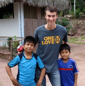 Joel with boys from the camp.