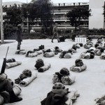 Soldiers on the campus of the National University of San Marcos in May 1991. They intended to arrest students suspected of being Shining Path guerrillas.