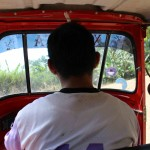 Inside the moto-taxi on the way to San Miguel.