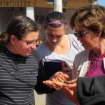 Miranda, Jaime and Peru SST Co-Director Judy Weaver admire some jewelry.
