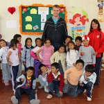 Matt with first-grade students and the teacher, Lila Reyna Castro Suire.