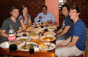 Peru SST Co-Director Richard R. Aguirre eating dinner with Stefan, Emma, Derek and Tim in San Ramon.