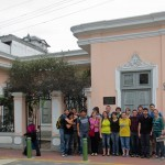 Students pause for a photo in front of the Casa Museo Ricardo Palma.