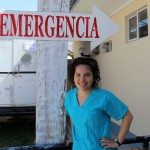 Edith outside the emergency room where she volunteered.