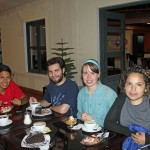 Alejandro, Andrew, Leah and Edith enjoy coffee and tasty desserts.