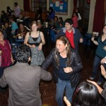 Students and host family members enjoy a final dance at the despedida (farewell party).