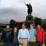 Andrew, Edith, Leah and Alejandro with Peru SST Co-Director Richard R. Aguirre. Behind them in the main plaza is a statue of General Antonio José de Sucre, who commanded an army that defeated royalist forces and set the stage for independence of Peru and the rest of South America from Spain.