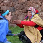 The shaman had us blow three times on coca leaves.