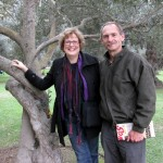 Karen and Duane Sherer Stoltzfus in the Bosque El Olivar, a park devoted to olive trees.