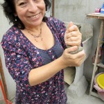 Celia enjoys working with the clay as well.