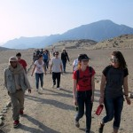 Making our way through the sacred city of Caral (Laura and Elizabeth in the lead).
