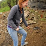 Laura with a rake.