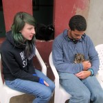 Lydia and Trevor with one of three new puppies at Alicia's house.