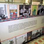 Information about the life of Mario Vargas Llosa is arranged in the center of the building.