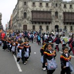 School children at the Plaza Mayor in Lima Centro.