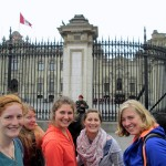 Laura, Adriene, Elizabeth, Mariah and Abby pose while watching the changing of the guard.