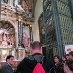 Our guide, Eduardo, tells us about one of the chapels inside Lima's Cathedral.