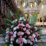 Flowers near the altar in celebration of Santa Rosa de Lima.