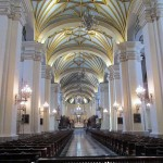 The nave of the Basilica Cathedral of Lima, officially inaugurated by Francisco Pizarro.