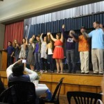 Students take a bow following the plays.