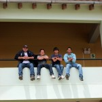 Bryan, Max, Armando and Trevor relax outside their hotel room in San Jeronimo, outside Cusco.