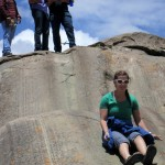 Mariah slides down the rocks at Sacsayhuamán.