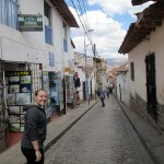 Danielle walks through the streets of Cusco to our lunch location.