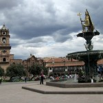 Cusco's Plaza Mayor, or central plaza, and la catedral del Cusco, with storm clouds rolling in. The rainy season is beginning!