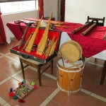 Traditional Andean instruments on display prior to our evening lecture.
