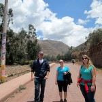 Bryan, Danielle and Adriene make their way to the trout farm for our lunch in Lucre.