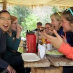 Shina and friends are excited about eating trout.