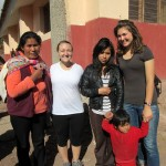 Danielle and Elizabeth with their host family in Lucre before leaving to visit the Sacred Valley.