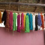 Samples of the dyed wool hang in the shop.