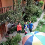 Elizabeth, Abby, Mariah and Trevor in the courtyard of our hostal in Ollantaytambo.