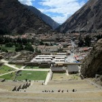Looking down the terraces of the fortress at Ollantaytambo.