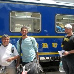 Willy, Trevor and Bryan prepare to board the PeruRail train to Aguas Calientes.