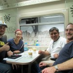 Bryan, Shina, Willy and Duane on the train to Aguas Calientes.