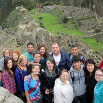 First group shots at Machu Picchu in the early hours of the day.