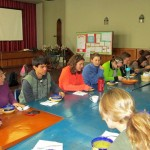 Students eat lunch with Rev. Jorge Zamudio and their language teachers following a morning of lectures.