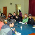 Students enjoy their first lunch at the Buen Pastor church following a lecture by Rev. Jorge Zamudio.