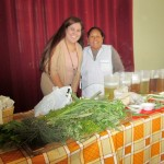 Alicia poses with Frances before starting her herb presentation. Frances served as translator.
