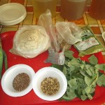 Herbs and other items used to make healthful beverages in Peru.