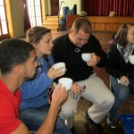 Trevor, Mariah, Bryan and Danielle pause before trying tea with aloe gel.