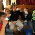 Trevor, Mariah, Bryan, Danielle and Adriene try tea with aloe gel.