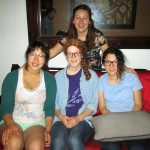Shina, Laura and their host mother Carolina, with a cousin.