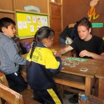Max plays a memory game with students at San Martin, a public school that serves deaf children in Cusco.